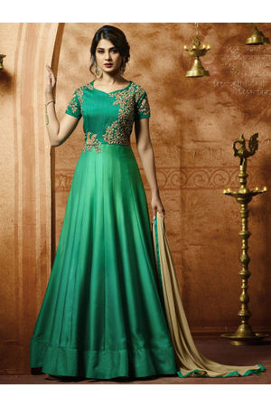 Jeniffer Winget Green colour Satin Anarkali Gown Suit
