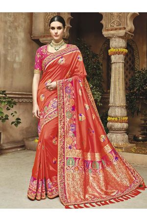 coral red Kanjeevaram silk saree with embroidery