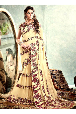 Printed Georgette Saree in  Cream