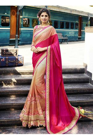 Beige and Magenta Cut work  Designer Designer Saree