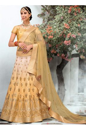 Creamish Yellow  Raw Silk Heavy  Wedding Lehenga Choli