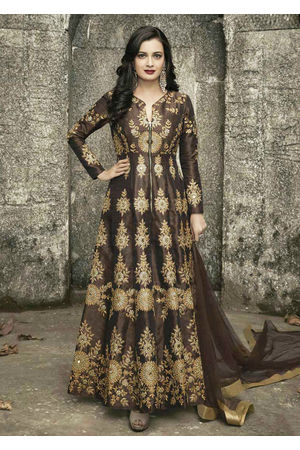 Diya Mirza in Brown Color Embroidered  Anarkali Salwar Suit