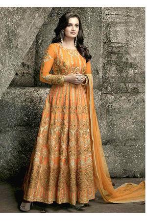 Diya Mirza in Orange  Color Embroidered  Anarkali Salwar Suit