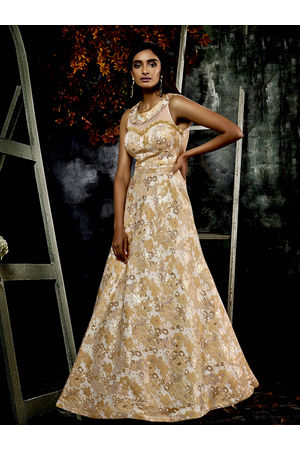Designer Cream  Beige Long Party Gown