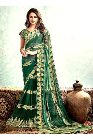 Printed Georgette Saree in  Green