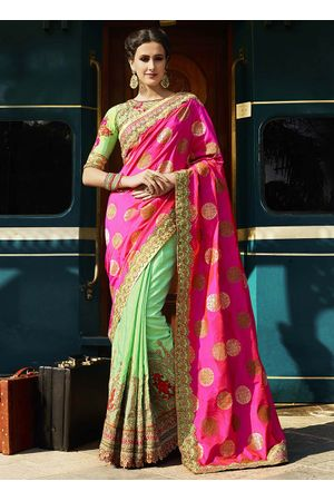 Pink and Green Banarasi style Heavily Embroidered Work Saree