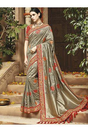 Grey Kanjeevaram silk saree with embroidery