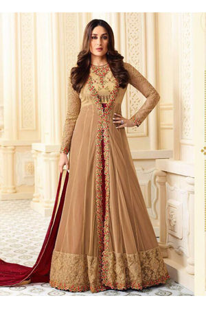 Kareena Kapoor in Beige and Maroon Long Anarkali Suit