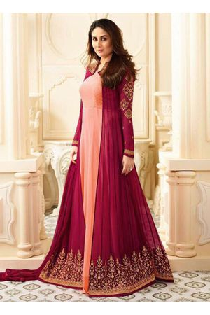 Kareena Kapoor in Peach & Pink  Long Anarkali Suit with Jacket