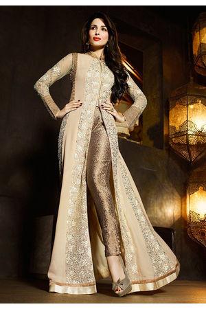 Malaika Arora Georgette Cream Embroidered Work Salwar Suit