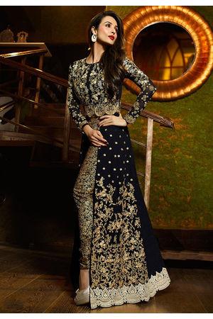 Malaika Arora  Black Georgette Front Slit Designer Suit