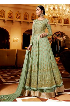 Green Georgette Layered Lehenga Anarkali Dress