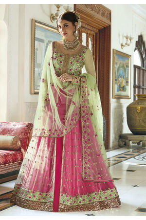 Embroidered Light Green and Fuchsia Designer Lehenga Choli