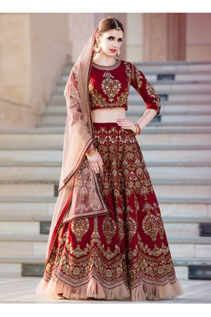 Maroon Art Silk Party Wear Lehenga