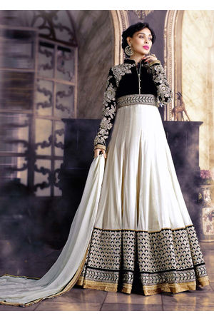 White & Black Floor Length Anarkali Dress with Resham Work