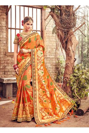 Banarasi Silk Wedding saree with Meenakari weave in Orange Color