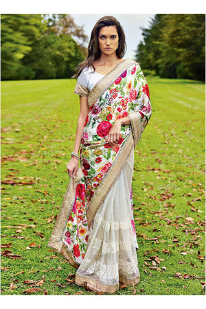 Floral  Printed Satin & Net Saree in Multi Colour