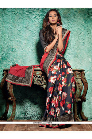 Floral  Printed Satin Silk Saree in Black