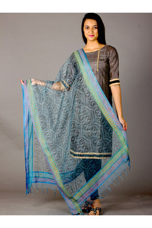 Dee's Alley Blue Grey Hand Painted Organza Dupatta