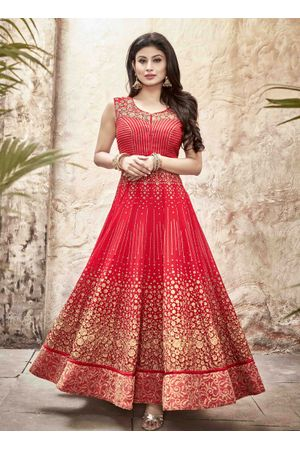 Mouni Roy Red Long Anarkali Salwar Suit with Zari work
