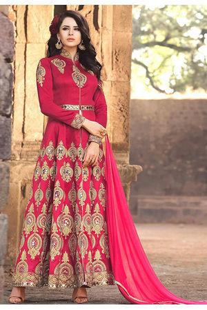 Pink Banarasi Silk Long Wedding Anarkali Suit