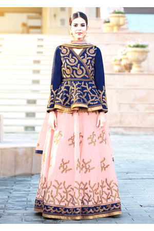 Dee's Alley Blue N Peach Art Silk Party Wear Lehenga