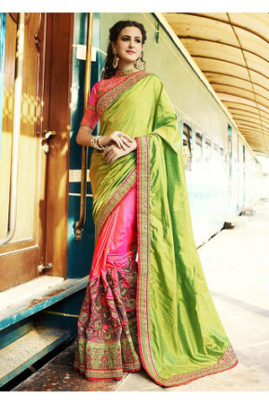 Pink & Green Embroidered Designer  Saree