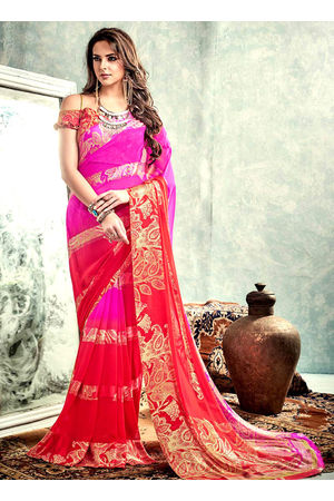 Printed Georgette Saree in  Pink and Red