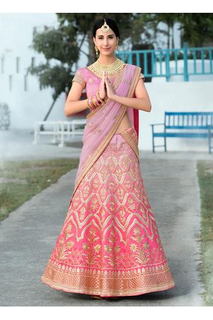 Shaded Pink  Gottal Patti Work Art Silk Bridal Lehenga