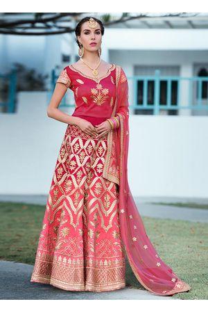 Dark Pink  Gotta Patti Work Art Silk Bridal Lehenga