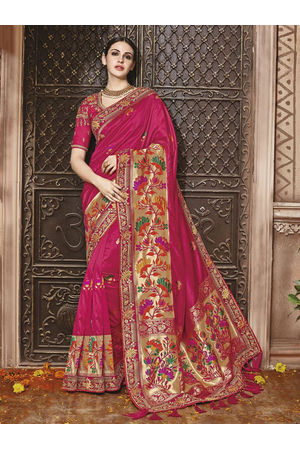 Dark Pink  Kanjeevaram silk saree with embroidery