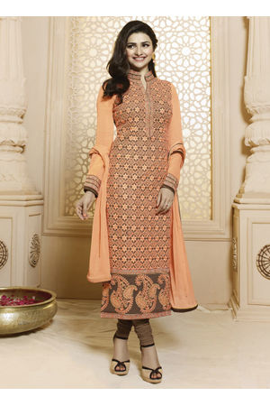 Prachi Desai Orange Straight Suit _2