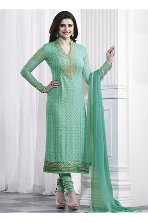 Prachi Desai Green georgette straight suit 42
