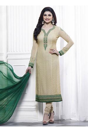 Prachi Desai beige georgette straight suit 40