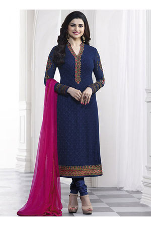 Prachi Desai blue georgette straight suit 37