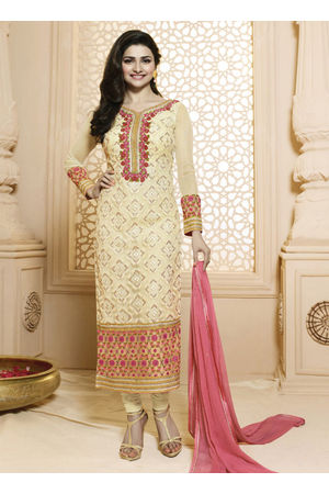 Prachi Desai cream georgette straight suit 61