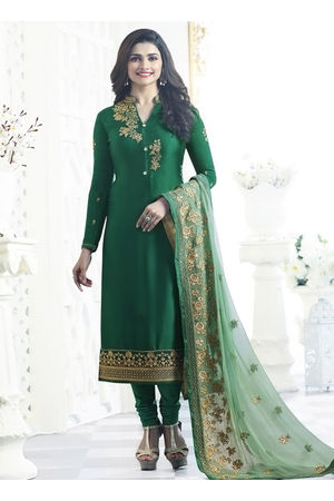 Prachi Desai green georgette straight suit 5465