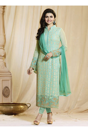 Prachi Desai mint green georgette straight suit 59