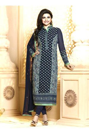 Prachi Desai navy blue georgette straight suit 64