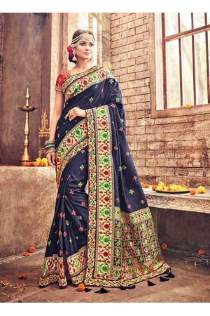 Banarasi Silk Wedding saree with Meenakari weave in Blue Color