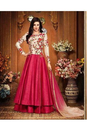 Magenta Color Indowestern long Anarkali Gown Salwar Suit