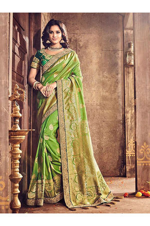 Banarasi Silk Wedding saree with Meenakari weave in Green Color