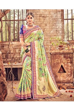 Banarasi Silk Wedding saree with Meenakari weave in Green & Pink Color
