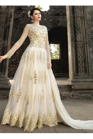 White Net  Indowestern Anarkali Gown Suit