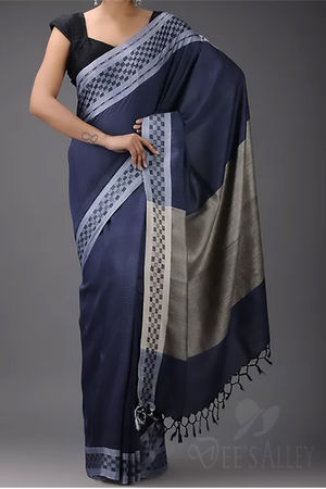 Dee's Alley  Blue with Grey Tussar Eri Silk Saree