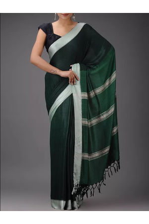 Dee's Alley Pure Eri-Tussar Silk Saree in Green Color