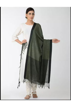 Dee's Alley Green Black Eri Munga Silk Dupatta
