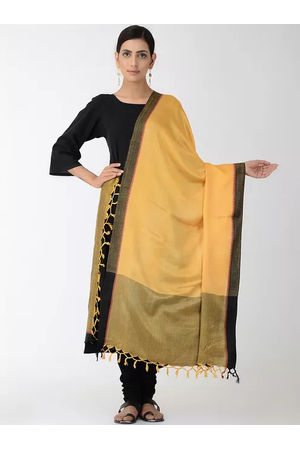 Dee's Alley Yellow Black Eri Munga Silk Dupatta
