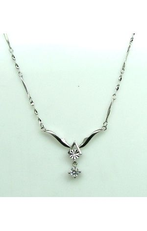 Trendy & Slim 925 Sterling Silver Chain Necklace CZ Studded