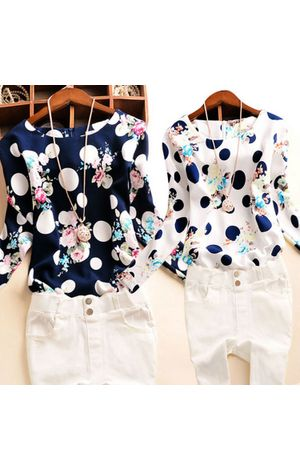 Polka Dot Floral Printed Long Sleeve Roll-up Cuffs Top